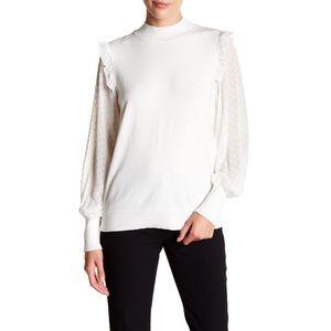 CeCe Ivory Swiss Dot Sleeve Blouse NWT